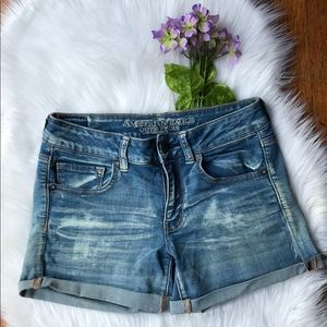 American Eagle Outfitters Midi Stretch Jean Shorts